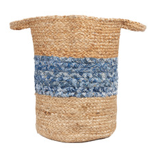 Natural & Denim Sabra Hand-Loomed Jute-Blend Basket