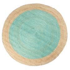 Aqua Kendi Hand-Loomed Jute Round Rug