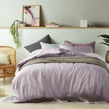 Mauve French Linen Quilt Cover Set