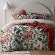 Protea Printed Linen & Cotton Quilt Cover Set