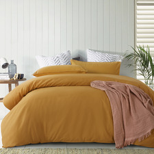 Ochre Lee Stonewashed Cotton Quilt Cover Set