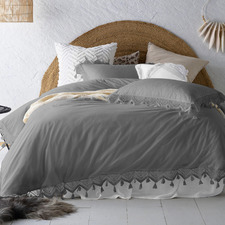 Steel Gypsy Tasselled Washed Cotton Quilt Cover Set