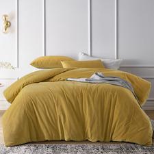 Gold Harmony Cotton Velvet Quilt Cover Set