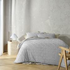 Dove Grey August Cotton Quilt Cover Set
