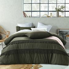 Olive Boho Tassel Cotton Quilt Cover Set