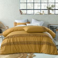 Ochre Boho Tassel Cotton Quilt Cover Set