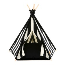 Black Zip Stripe Pet Teepee Tent