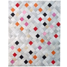 Pink Falling Squares Cow Hide Rug
