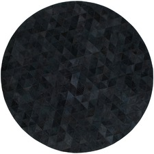 Charcoal Trilogia Round Cow Hide Rug