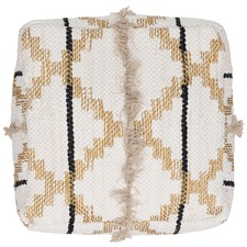 Cream Trails Cotton Pouffe Cover