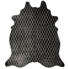 Black & Silver Harlequin Metallic Cowhide