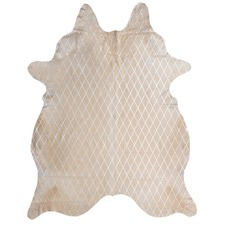 Cream & Silver Harlequin Metallic Cowhide
