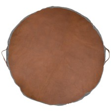 Round Leather Floor Cushion