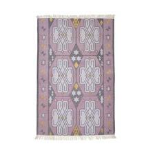 Lilac Mystics Cotton Dhurrie Rug