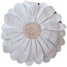 Cream Flora Round Cotton Cushion