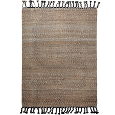 Black Tasselled River Weave Hemp-Blend Rug