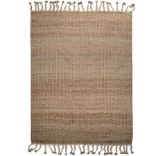 White Tasselled River Weave Hemp-Blend Rug