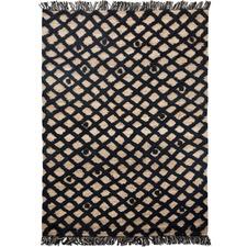 Black Diamond Weave Hemp & Wool Rug