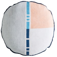 Delta Poseidon Blue Multi Circle Linen Cushion