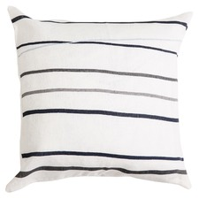 Harvey Square Grey Stripes Linen Cushion