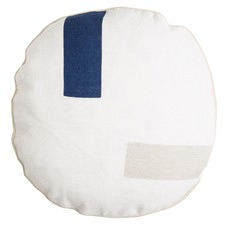 Robin Estate Blue & Silver Birch Circle Linen Cushion