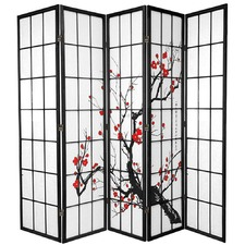 5 Panel Cherry Blossom Room Divider Screen