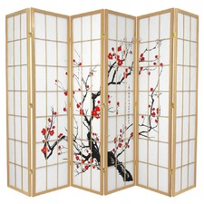 6 Panel Cherry Blossom Room Divider Screen