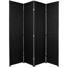 4 Panel Woven Room Divider Screen