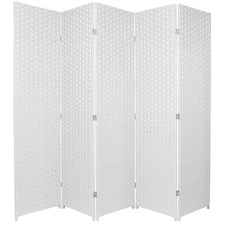 5 Panel Woven Room Divider Screen