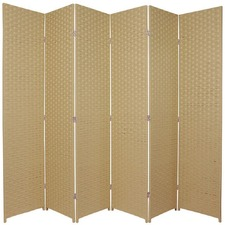 6 Panel Woven Room Divider Screen