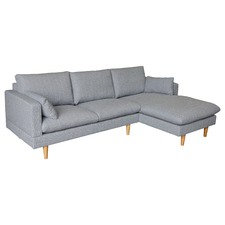 Silas Light Grey 2 Seater Sofa with Right Chaise