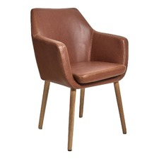 Oak & PU Leather Tan Chloe Carver Chair