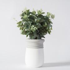 Faux Eucalyptus in White & Grey Pot