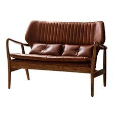 Modern Monroe Oak & Leather Sofa