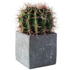 20cm Faux Ball Cactus in Concrete Effect Cube
