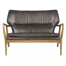 Modern Theron Oak & Leather Sofa