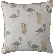 Grey Flamingo & Pineapples Cotton Cushion