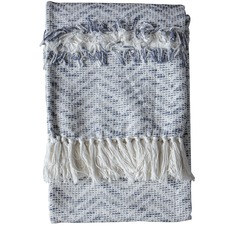 Slate Grey & Cream Zumba Herringbone Throw