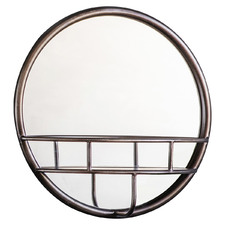 Bronze Strickland Round Wall Mirror & Shelf