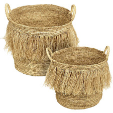 2 Piece Halle Raffia Basket Set