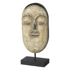Cream Decorative Wooden Mask on Stand