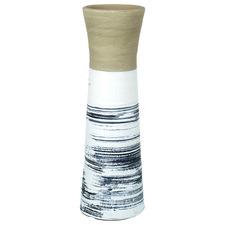 Black & White Fantail Terracotta Vase