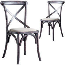 Otis Distressed Country Style Dining Chairs (Set of 2)