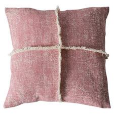 Blush Fringed Penny Cotton Cushion