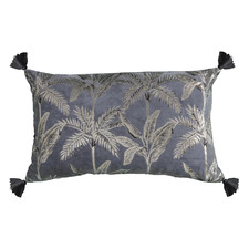 Metallic Grey Kachana Rectangular Velvet Cushion