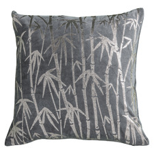Metallic Grey Oriental Velvet Cushion