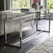 Silver Adana Glass-Top Console Table