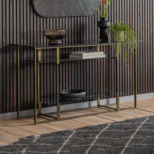 Zelina Glass & Iron Console Table