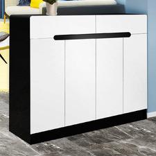White Deanne 120cm Double Sided Shoe Cabinet