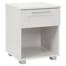White Teagan 1 Drawer Bedside Table